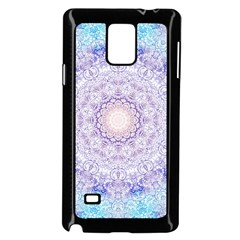 India Mehndi Style Mandala   Cyan Lilac Samsung Galaxy Note 4 Case (Black)