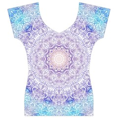 India Mehndi Style Mandala   Cyan Lilac Women s V-Neck Cap Sleeve Top