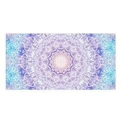 India Mehndi Style Mandala   Cyan Lilac Satin Shawl