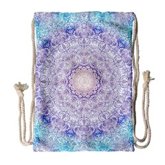 India Mehndi Style Mandala   Cyan Lilac Drawstring Bag (Large)