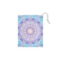 India Mehndi Style Mandala   Cyan Lilac Drawstring Pouches (XS)