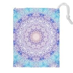 India Mehndi Style Mandala   Cyan Lilac Drawstring Pouches (XXL)