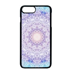India Mehndi Style Mandala   Cyan Lilac Apple Iphone 7 Plus Seamless Case (black)