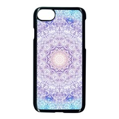 India Mehndi Style Mandala   Cyan Lilac Apple iPhone 7 Seamless Case (Black)