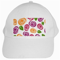 Colorful Seamless Floral Flowers Pattern Wallpaper Background White Cap