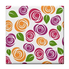 Colorful Seamless Floral Flowers Pattern Wallpaper Background Tile Coasters