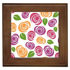 Colorful Seamless Floral Flowers Pattern Wallpaper Background Framed Tiles