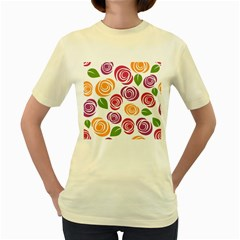 Colorful Seamless Floral Flowers Pattern Wallpaper Background Women s Yellow T-Shirt