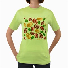Colorful Seamless Floral Flowers Pattern Wallpaper Background Women s Green T Shirt