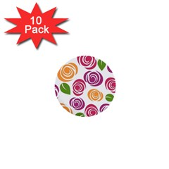 Colorful Seamless Floral Flowers Pattern Wallpaper Background 1  Mini Buttons (10 pack)