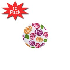 Colorful Seamless Floral Flowers Pattern Wallpaper Background 1  Mini Magnet (10 pack)