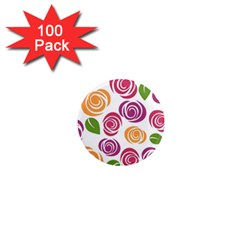 Colorful Seamless Floral Flowers Pattern Wallpaper Background 1  Mini Magnets (100 pack)