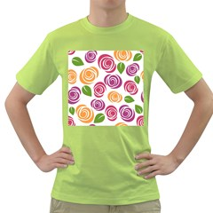 Colorful Seamless Floral Flowers Pattern Wallpaper Background Green T Shirt