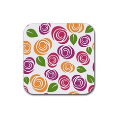 Colorful Seamless Floral Flowers Pattern Wallpaper Background Rubber Square Coaster (4 Pack)