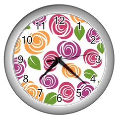 Colorful Seamless Floral Flowers Pattern Wallpaper Background Wall Clocks (silver)
