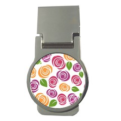 Colorful Seamless Floral Flowers Pattern Wallpaper Background Money Clips (round)