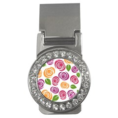 Colorful Seamless Floral Flowers Pattern Wallpaper Background Money Clips (cz)