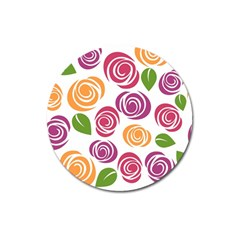Colorful Seamless Floral Flowers Pattern Wallpaper Background Magnet 3  (round)