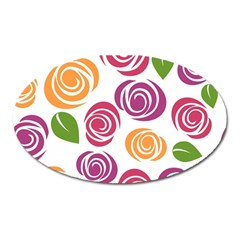 Colorful Seamless Floral Flowers Pattern Wallpaper Background Oval Magnet