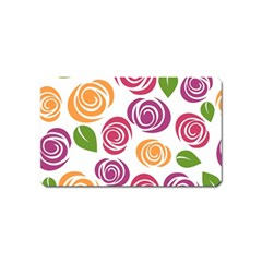 Colorful Seamless Floral Flowers Pattern Wallpaper Background Magnet (Name Card)