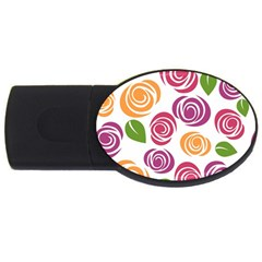 Colorful Seamless Floral Flowers Pattern Wallpaper Background USB Flash Drive Oval (2 GB)