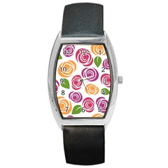Colorful Seamless Floral Flowers Pattern Wallpaper Background Barrel Style Metal Watch