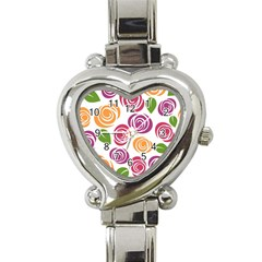Colorful Seamless Floral Flowers Pattern Wallpaper Background Heart Italian Charm Watch