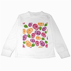 Colorful Seamless Floral Flowers Pattern Wallpaper Background Kids Long Sleeve T Shirts