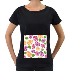 Colorful Seamless Floral Flowers Pattern Wallpaper Background Women s Loose Fit T Shirt (black)