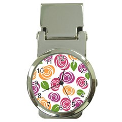 Colorful Seamless Floral Flowers Pattern Wallpaper Background Money Clip Watches
