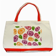 Colorful Seamless Floral Flowers Pattern Wallpaper Background Classic Tote Bag (Red)