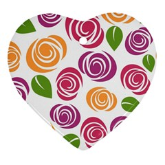 Colorful Seamless Floral Flowers Pattern Wallpaper Background Heart Ornament (two Sides)
