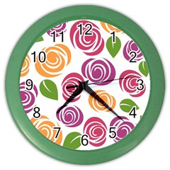 Colorful Seamless Floral Flowers Pattern Wallpaper Background Color Wall Clocks
