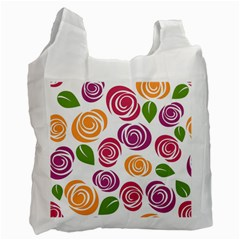 Colorful Seamless Floral Flowers Pattern Wallpaper Background Recycle Bag (Two Side)