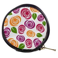 Colorful Seamless Floral Flowers Pattern Wallpaper Background Mini Makeup Bags