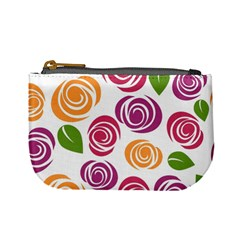 Colorful Seamless Floral Flowers Pattern Wallpaper Background Mini Coin Purses