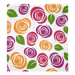 Colorful Seamless Floral Flowers Pattern Wallpaper Background Shower Curtain 66  X 72  (large)