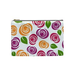 Colorful Seamless Floral Flowers Pattern Wallpaper Background Cosmetic Bag (medium)