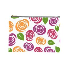 Colorful Seamless Floral Flowers Pattern Wallpaper Background Cosmetic Bag (large)