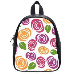 Colorful Seamless Floral Flowers Pattern Wallpaper Background School Bags (Small)