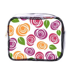 Colorful Seamless Floral Flowers Pattern Wallpaper Background Mini Toiletries Bags