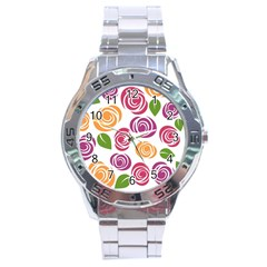 Colorful Seamless Floral Flowers Pattern Wallpaper Background Stainless Steel Analogue Watch
