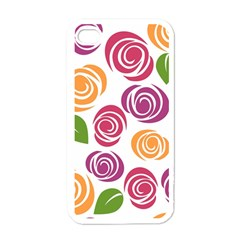 Colorful Seamless Floral Flowers Pattern Wallpaper Background Apple Iphone 4 Case (white)