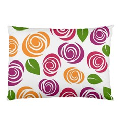 Colorful Seamless Floral Flowers Pattern Wallpaper Background Pillow Case (two Sides)