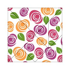 Colorful Seamless Floral Flowers Pattern Wallpaper Background Acrylic Tangram Puzzle (6  x 6 )