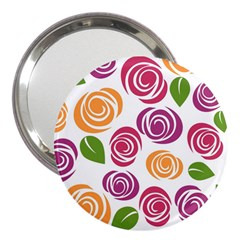 Colorful Seamless Floral Flowers Pattern Wallpaper Background 3  Handbag Mirrors