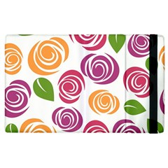 Colorful Seamless Floral Flowers Pattern Wallpaper Background Apple Ipad 2 Flip Case