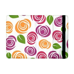 Colorful Seamless Floral Flowers Pattern Wallpaper Background Apple Ipad Mini Flip Case