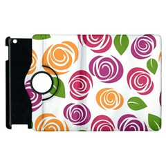 Colorful Seamless Floral Flowers Pattern Wallpaper Background Apple Ipad 2 Flip 360 Case