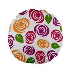 Colorful Seamless Floral Flowers Pattern Wallpaper Background Standard 15  Premium Round Cushions